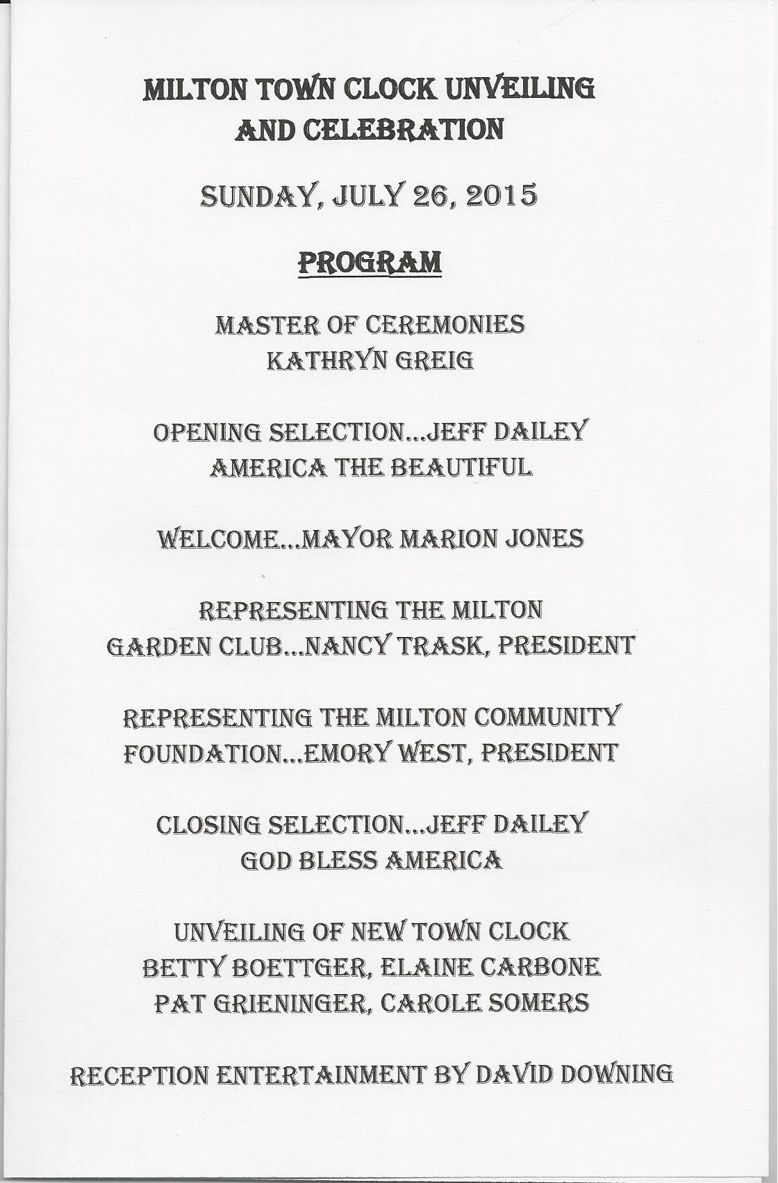 Milton Clock Unveiling Program 7.26.15